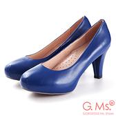 G.Ms.* 推薦通勤鞋‧靜音鞋跟真皮厚底粗跟包鞋‧寶藍