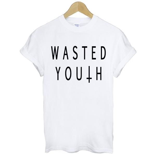WASTED YOUTH短袖T恤 2色 浪費青春十字架三角形幾何潮流滑板街頭文字t-shirt gildan 390