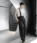 韓版單邊斜跨可調節直筒背帶褲/設計家k-965