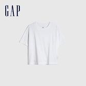 Gap女裝 純棉寬鬆式圓領短袖T恤 833237-白色