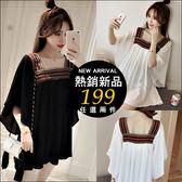 克妹Ke-Mei【AT42352】Korea韓國小清新民族風寬鬆刺繡領雪紡小洋裝