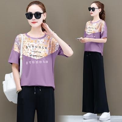 運動休閑服兩件套夏季新款時尚寬松洋氣減齡短袖闊腿褲女套裝T122-D1胖妞衣櫥