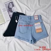 網紅高腰牛仔短褲女夏緊身顯瘦彈力淺色短褲女【CH伊諾】