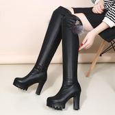 膝上靴 2018秋冬新款超高跟粗跟過膝長靴側拉鏈彈力靴