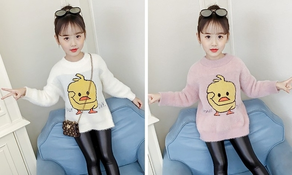 衣童趣♥韓版中大女童 保暖毛衣 抖音小鴨可愛上衣