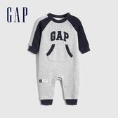 Gap嬰兒 LOGO撞色插肩袖一體式包屁衣 618778-淺灰色
