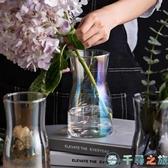 寬口插花花器漸變幻彩桌面擺件簡約小花瓶玻璃【千尋之旅】