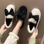 豆豆鞋女平底加絨棉鞋女鞋秋冬季外穿一腳蹬毛毛鞋【聚可愛】