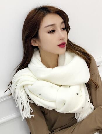 圍巾女韓國百搭針織毛線珍珠加厚韓版女士