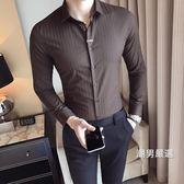 優惠兩天-長袖襯衫春季時尚素面襯衣男裝韓版修身小剪刀裝飾長袖襯衫男青年6色衣服M-3XL7色