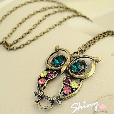 【60A15】shiny藍格子-複古彩鑽鏤空雕花貓頭鷹項鏈。