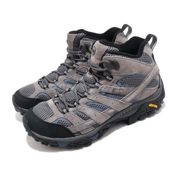 Merrell 戶外鞋 Moab 2 LTR Mid GTX 灰 藍 Vibram 大底 中筒 男鞋 健行 登山鞋【PUMP306】 ML42469