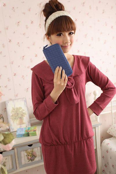 【Miyo皮夾】進口羊皮手工編織拉鍊長夾(寶藍)
