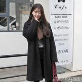 現貨出清外套女中長款秋冬新款韓版百搭寬鬆繭型黑色學生大衣2-26