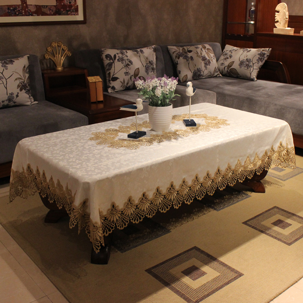 ★蕾絲客廳家用歐式長方形餐桌布桌旗圓茶幾布~