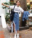 VK精品服飾 韓國風撕破拉絲不規則設計開叉單品長裙