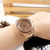 FOSSIL / ES5109 / 三眼三針 羅馬刻度 閃耀晶鑽 星期日期 不鏽鋼手錶 咖啡x鍍玫瑰金 38mm