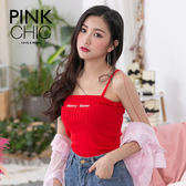 背心 CHERRY字母針織背心 - PINK CHIC - 326628
