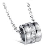 鈦鋼項鍊(一對)-圓環鑲扣生日情人節禮物男女對鍊73cl59【時尚巴黎】