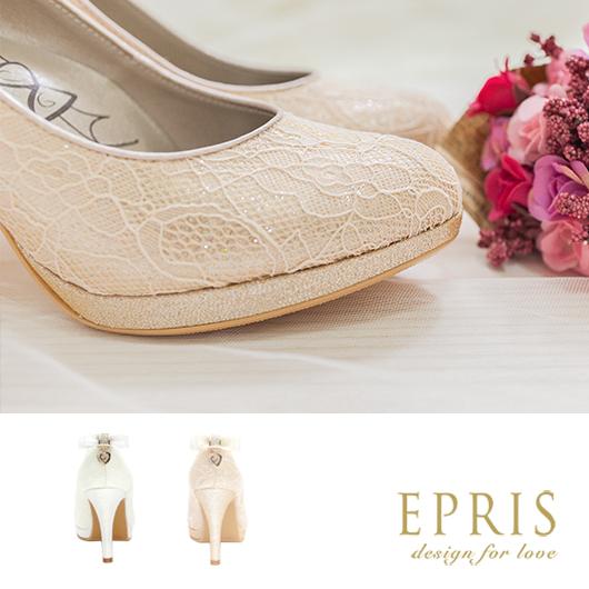 現貨 MIT小中大尺碼新娘婚鞋 心之邱比特蕾絲蝴蝶結水鑽真皮腳墊高跟鞋子21-26EPRIS艾佩絲-高貴金