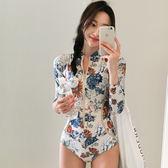 韓國新款連體潛水服女長袖防曬速干泳衣沖浪浮潛服顯瘦水母衣泳裝