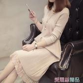 蕾絲洋裝針織長款蕾絲毛衣裙厚款大碼春裝女裝過膝寬鬆打底連身裙 春季上新