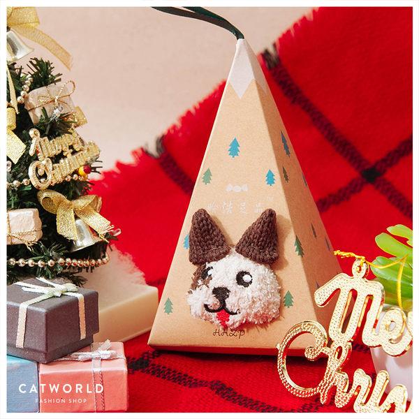 Catworld 交換禮物*條紋狗狗珊瑚絨襪禮盒【18900153】‧F
