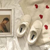 保暖鞋/冬外穿冬加絨平底潮懶人白色一腳蹬子『聖誕節交換禮物』
