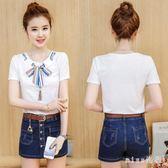 時尚新款韓版女裝短袖T恤牛仔短褲裙小清新兩件套潮 js4835『miss洛羽』