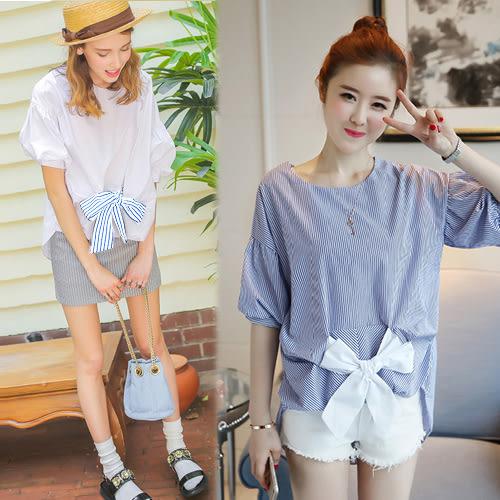 【韓國K.W.】(預購) 簡約時尚蝴蝶結造型燈籠袖上衣