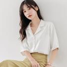 2021春夏新款白襯衣職業雪紡白色襯衫女士設計感小眾中袖氣質上衣 【端午節特惠】