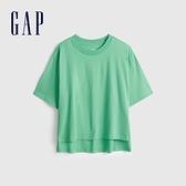 Gap女裝 純棉落肩袖短袖T恤 704371-薄荷綠