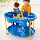幼之圓*Weplay 娃娃沙箱-藍 夏日戲水玩沙.旋轉式排水孔.前腳附輪子