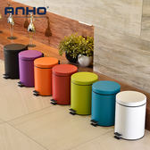 ANHO不銹鋼垃圾桶衛生間客廳廚房緩降帶蓋腳踏式靜音5升紙簍