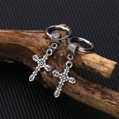 【5折超值價】經典潮流日韓街頭格十字架造型男款鈦鋼耳飾