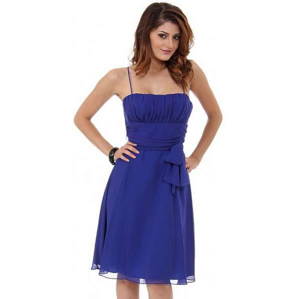 【摩達客】美國進口Landmark平口修身皇家藍色晚宴短禮服浪漫甜美派對雪紡洋裝(含禮盒/附絲巾)