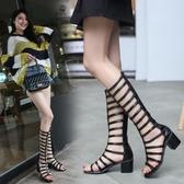 包跟綁帶羅馬涼鞋女夏新款韓版中跟粗跟復古高跟露趾高筒涼靴 瑪麗蘇