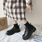 小皮鞋 配裙子的小皮鞋女英倫2019新款百搭厚底復古黑色日系jk春秋單鞋子TB