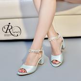 【快速出貨】韓系雜誌款珍珠水鑽吊飾高跟涼鞋/3色/35-42碼 (RX0506-930-9A) iRurus 路絲時尚