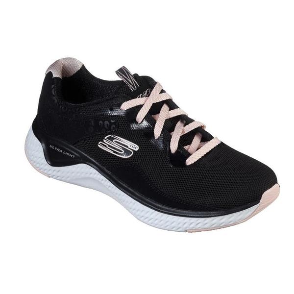 SKECHERS系列-SOLAR FUSE女款黑粉色慢跑鞋-NO.13327BKPK