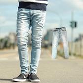 牛仔褲 韓國製淺藍刷色小抓破合身版牛仔褲【NB0437J】