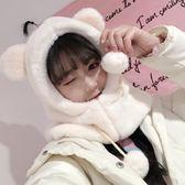 (禮物交換 聖誕)兔子耳朵帽子女秋冬季甜美可愛冬天毛絨圍巾一體韓版百搭護耳保暖