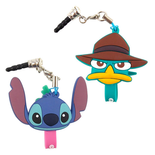 【Disney】 可愛造型耳機防塵塞吊飾捲線器-史迪奇/泰瑞