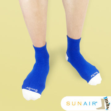 sunair 滅菌除臭襪子-自行車運動薄襪 短筒 (L25~29) (藍+白) /SA3103