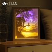 diy光影紙雕燈 木屋、diy臥室床頭裝飾台燈創意送禮物送情侶 - 歐美韓熱銷