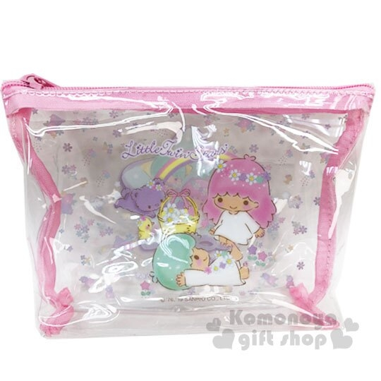 〔小禮堂〕雙子星 船形透明旅行盥洗包兩件組《粉》空瓶.空盒.化妝包 4712977-46582