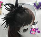 得來福,K414復古羽毛頭飾花朵禮帽紗質面紗聖誕節派對舞會,售價350元