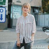 春夏韓版文藝棉麻豎條紋襯衫 立領五分袖寬鬆休閒女上衣 『CR水晶鞋坊』