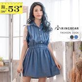 洋裝--清新風情縷空蕾絲繡花網紗拼接排釦鬆緊收腰單寧洋裝(黑.藍XL-5L)-D405眼圈熊中大尺碼