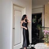 夏季新款很仙的法國小眾連身裙港風緞面修身顯瘦V領魚尾裙女 雙十二全館免運